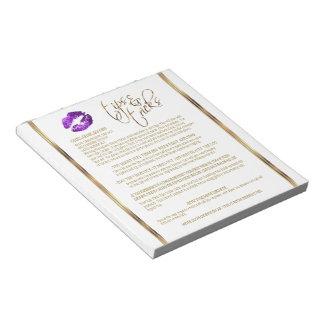 Purple Glitter Lip Tips and Tricks Notepad