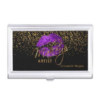 Purple Glitter Lips and Gold Confetti Business Card Holder