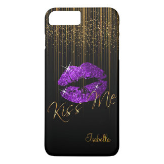 Purple Glitter Lips and Gold Glitter Star Lights iPhone 8 Plus/7 Plus Case