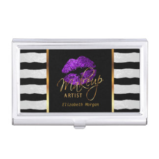 Purple Glitter Lips and White Stripes Business Card Holder