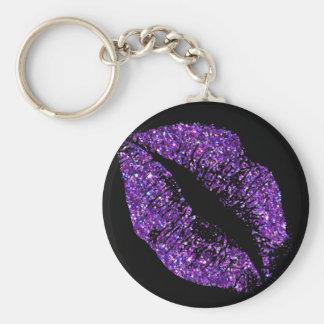 Purple Glitter Lips Key Ring