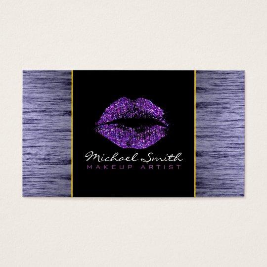 Purple Glitter Lips Makeup Artis Modern Wood #5