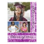 Purple Glitter-Look 3 Photo Graduation Custom Invitation