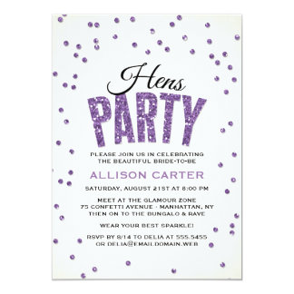 Purple Glitter Look Confetti Hens Party Card