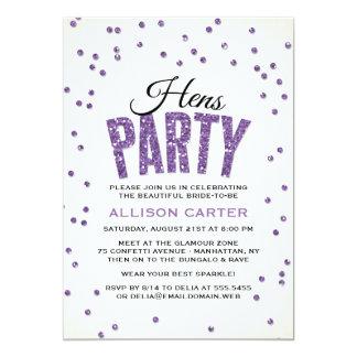 Purple Glitter Look Confetti Hens Party 13 Cm X 18 Cm Invitation Card