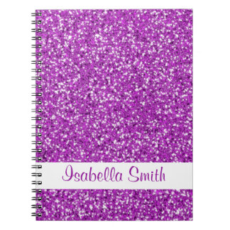 Purple Glitter Look-like And Name Notebook