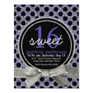 "Purple Glitter Look Polka Dot Sweet 16 Party 4.25"" X 5.5"" Invitation Card"