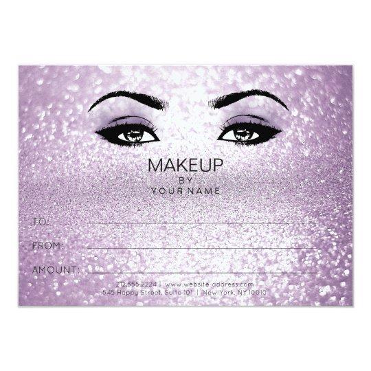 Purple Glitter Makeup Beauty Certificate Gift Card