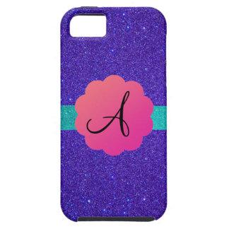 Purple glitter mongoram iPhone 5 case