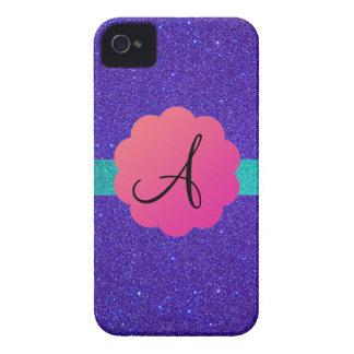 Purple glitter mongoram iPhone 4 Case-Mate cases