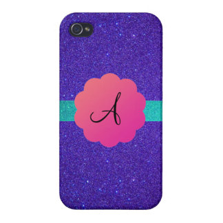 Purple glitter mongoram case for iPhone 4