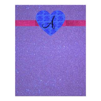 Purple glitter monogram blue roses 21.5 cm x 28 cm flyer