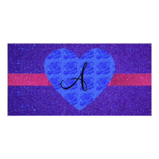 Purple glitter monogram blue roses photo card template
