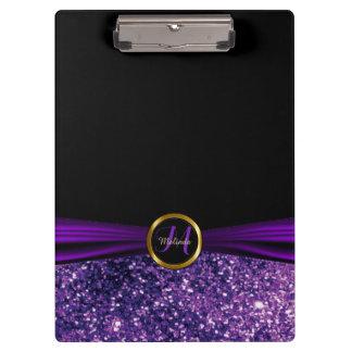 Purple Glitter Monogram Design Clipboard