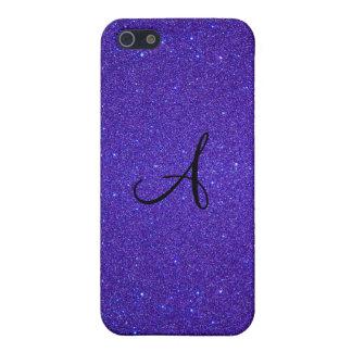 Purple glitter monogram covers for iPhone 5
