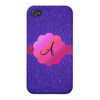 Purple glitter monogram iPhone 4/4S cases