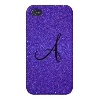 Purple glitter monogram iPhone 4/4S case