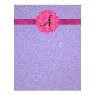 Purple glitter monogram pink roses 21.5 cm x 28 cm flyer