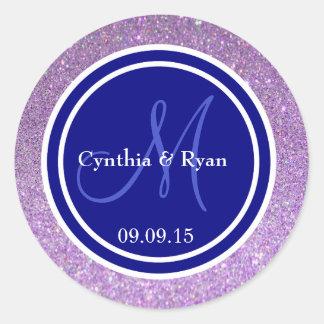Purple Glitter & Navy Blue Wedding Monogram Seal Round Sticker