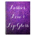 purple glitter notebook lashes love lipgloss