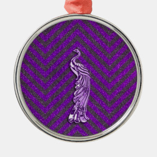 Purple Glitter Peacock Christmas Ornament