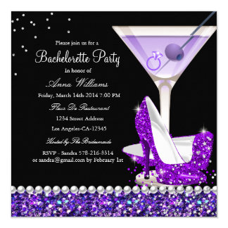 Purple Glitter Pearl Bachelorette Party Invite