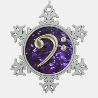 Purple Glitter Pearl Bass Clef Christmas Snowflake Snowflake Pewter Christmas Ornament