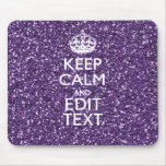 Purple Glitter Personalise KEEP CALM AND Your Text Mouse Pad
