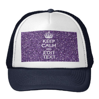 Purple Glitter Personalize KEEP CALM AND Your Text Mesh Hat
