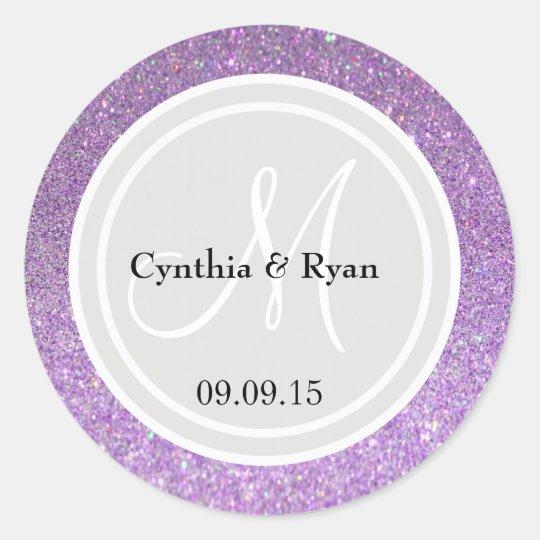 Purple Glitter & Platinum Grey Wedding Monogram Classic Round Sticker
