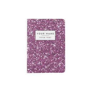 Purple Glitter Printed Passport Holder