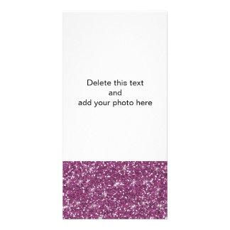 Purple Glitter Printed Photo Card