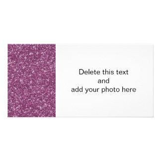 Purple Glitter Printed Photo Greeting Card