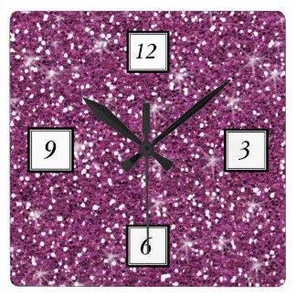 Purple Glitter Printed Square Wall Clock