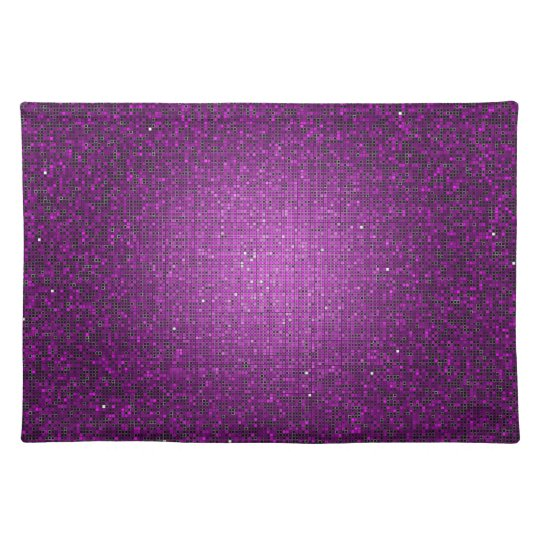 Purple Glitter Sequin Disco Glitz Pattern Placemat
