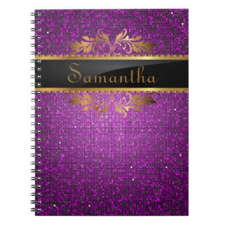 Purple Glitter Sequin Disco Glitz Spiral Notebook