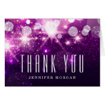 Purple Glitter Sparkles Thank You Note Card