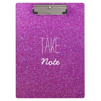 Purple Glitter Take Note Clipboard