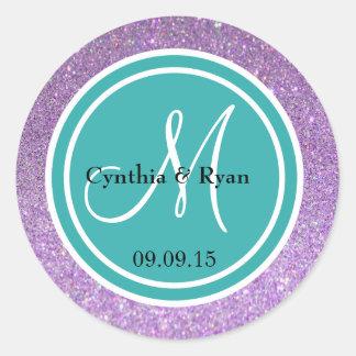 Purple Glitter & Teal Blue Wedding Monogram Round Sticker
