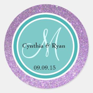 Purple Glitter & Teal Green Wedding Monogram Round Sticker