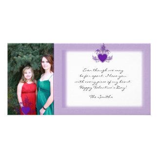 Purple Glitter Valentine Photo Card