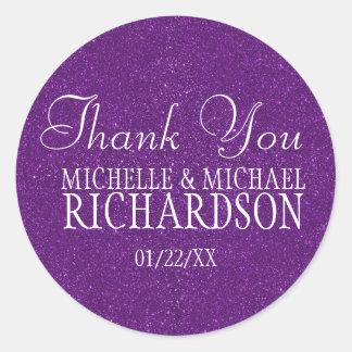 Purple Glitter Wedding Favor Round Sticker
