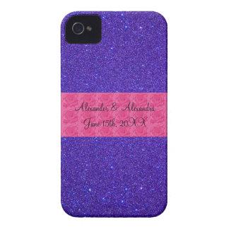 Purple glitter wedding favors iPhone 4 case