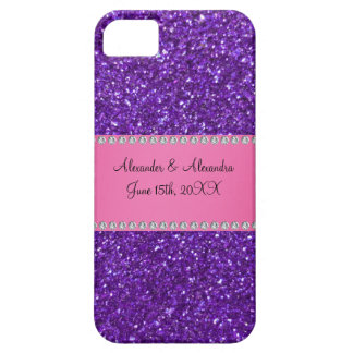 Purple glitter wedding favors iPhone 5 cases