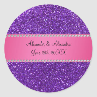 Purple glitter wedding favors classic round sticker