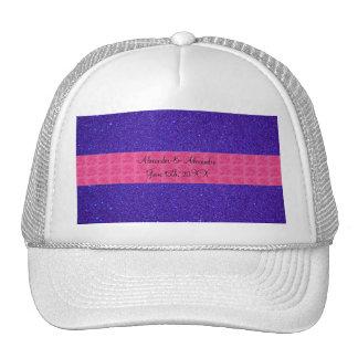 Purple glitter wedding favors hats