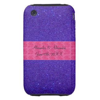 Purple glitter wedding favors iPhone 3 tough case