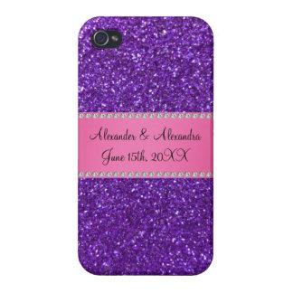 Purple glitter wedding favors iPhone 4/4S cases
