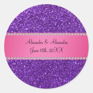 Purple glitter wedding favors round sticker