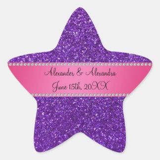 Purple glitter wedding favors stickers